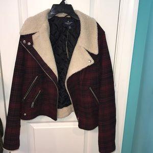 New American Eagle Plaid Fur Jacket
